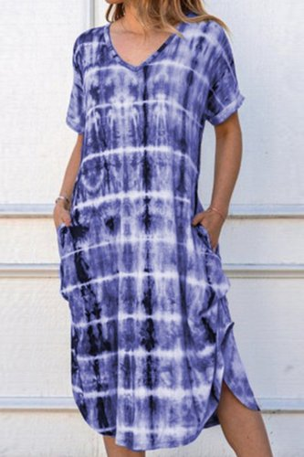 Dokifans Tie-dye Blue Pockets Midi Dress