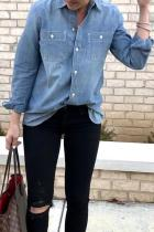 Dokifans Casual Long Sleeves Blue Denim Shirts