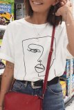 Dokifans Funny Face Print White T-shirt
