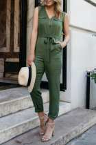 Dokifans V Neck Lace-up Army Green One-piece Jumpsuit