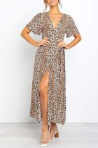 Dokifans V Neck Leopard Printed Ankle Length Dress