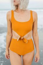Dokifans Hollow-out Knot Patchwork Orange One-piece Swimsuit