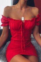 Dokifans Dew Shoulder Fold Design Red Mini Dress