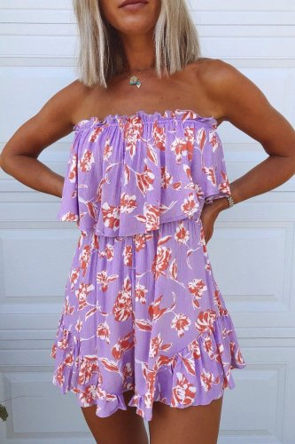 Dokifans Dew Shoulder Print Purple One-piece Romper