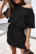 Dokifans Lace-up Cutout Design Black Mini Dress
