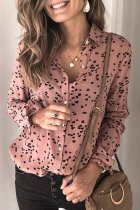 Dokifans Turndown Collar Print Dusty Pink Blouse