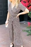 Dokifans V Neck Leopard Printed One-piece Jumpsuit