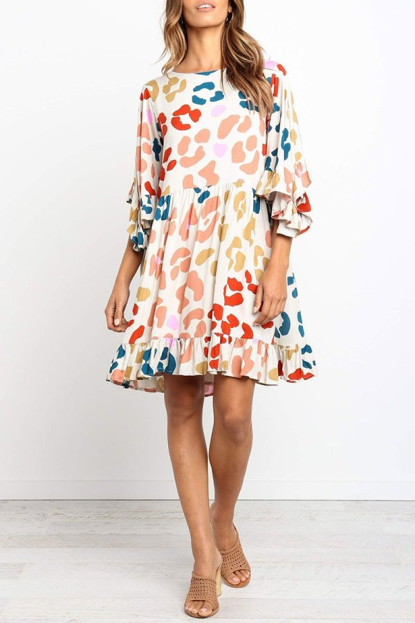 Dokifans O Neck Flare Sleeve Printed Multicolor Mini A Line Dress(Nonelastic)