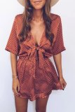 Dokifans Dot Print Cutout Design Wine Red One-piece Romper