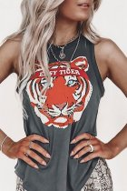 Dokifans Tiger Print Grey Tank Top