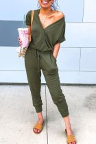 Dokifans V Neck Drawstring Design Army Green One-piece Jumpsuit