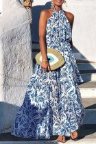 Dokifans Print Blue Maxi Dress