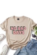 Dokifans Letter NO BAD DAYS Print Khaki T-shirt