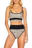 Dokifans Leopard Print Patchwork Beige Tankini Bikini Set