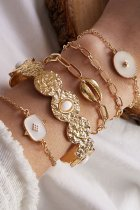 Dokifans 5-piece Hollow-out Shell Gold Bracelet