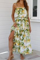 Dokifans Spaghetti Strap Print Green Ankle Length Dress