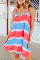 Dokifans Tie-dye Striped Multicolor Mini Dress