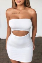 Dokifans Dew Shoulder Hollow-out White Mini Dress