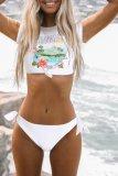 Dokifans Letter Hermosa Beach Print Tankini Bikini Set (2 Colors)