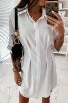 Dokifans Buttons Design Fold Design Mini Dress (2 Colors)