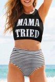 Dokifans Letter Mama Tried Print Tankini Bikini Set (3 Colors)