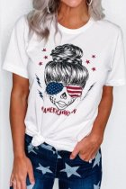 Dokifans Letter Americanwoman Print White T-shirt