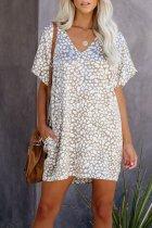 Dokifans Leopard Print Pocketed Grey Mini Dress