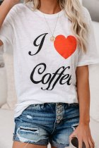 Dokifans Letter I Love Coffee Print White T-shirt