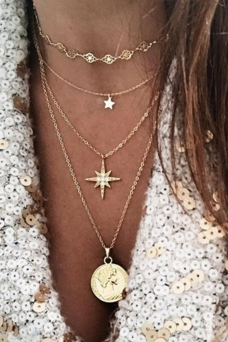 Dokifans Star Design Hollow-out Gold Necklace