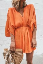 Dokifans V Neck Loose Orange One-piece Romper