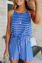 Dokifans Lace-up Striped Blue One-piece Romper