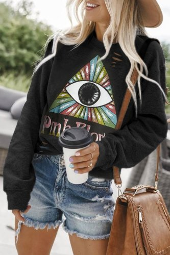 Dokifans Eye Printed Black Sweatshirt