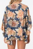 Dokifans Floral Print Loose Blue Cover-Up