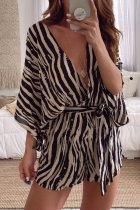 Dokifans Lace-up Striped Black Brown One-piece Romper