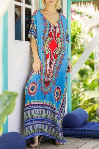 Dokifans Stylish Boho Print Maxi Dress (2 Colors)
