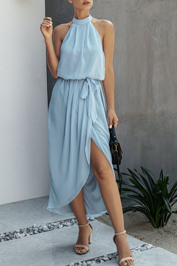 Dokifans Lace-up Dew Shoulder Baby Blue Midi Dress