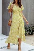 Dokifans Ruffled Floral Print Knot Design Yellow Maxi Dress