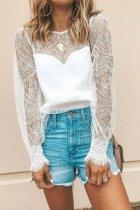 Dokifans Lace Patchwork Design White Blouse