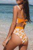 Dokifans Floral Print Lace Hem Yellow Tankini Bikini Set