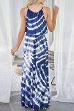 Dokifans Tie-dye Loose Blue Maxi Dress