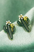 Dokifans Cactus Design Blackish Green Earring