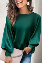 Dokifans Basic Loose Design Solid Green Blouse