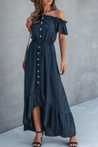 Dokifans Dew Shoulder Buttons Design Dark Blue Maxi Dress