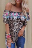 Dokifans One Shoulder Ruffled Leopard Print Blouse