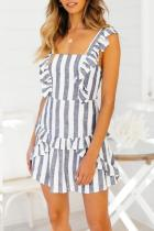 Dokifans Casual Striped Flounces Design Blue Mini Dress