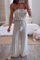 Dokifans Dew Shoulder Striped Whtie One-piece Jumpsuit