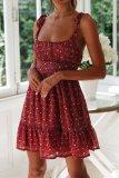Dokifans Flounce Design Floral Print Red Mini Dress