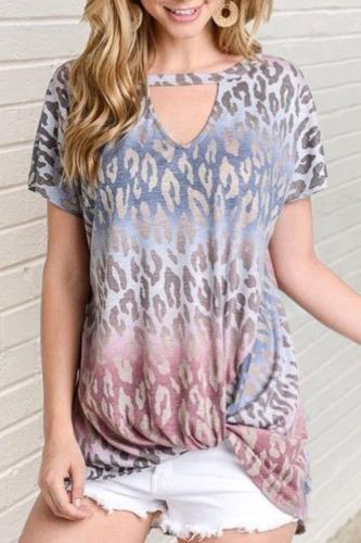 Dokifans Tie-dye Print Hollow-out LooseT-shirt (3 Colors)