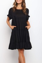 Dokifans Fold Design Pocketed Black Midi Dress