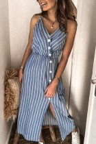 Dokifans Striped Buttons Design Skyblue Midi Dress